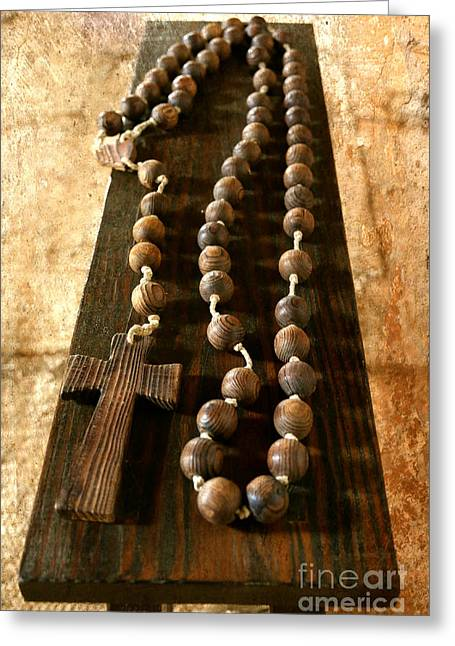 Rustic Rosary Greeting Card by Carol Groenen