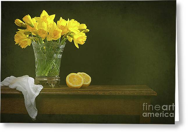 Rustic Still Life With Daffodils Greeting Card