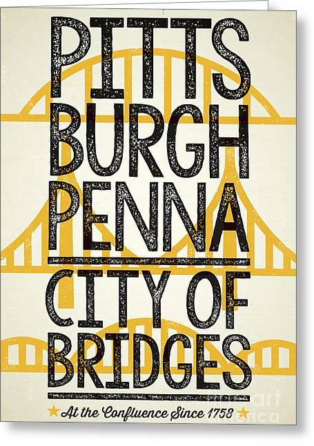 Rustic Style Pittsburgh Poster Greeting Card by Jim Zahniser