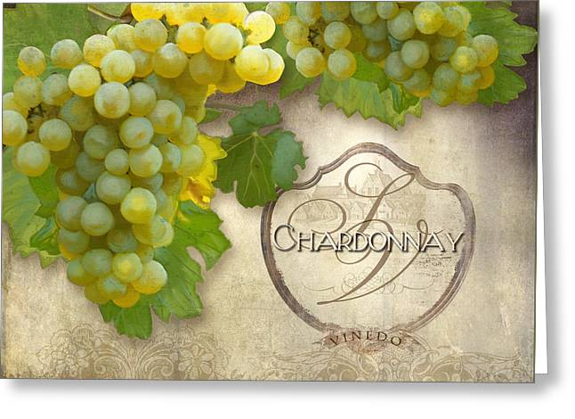 Rustic Vineyard - Chardonnay White Wine Grapes Vintage Style Greeting Card by Audrey Jeanne Roberts