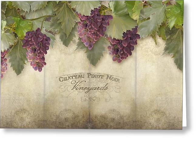 Rustic Vineyard - Pinot Noir Grapes Greeting Card by Audrey Jeanne Roberts