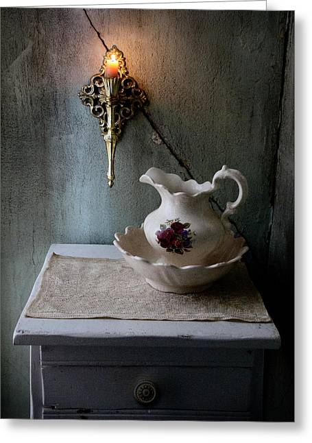 Rustic Water Closet With Brass Sconce And A Pretty Floral Patter Greeting Card