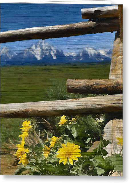 Rustic Wildflowers And Tetons Greeting Card