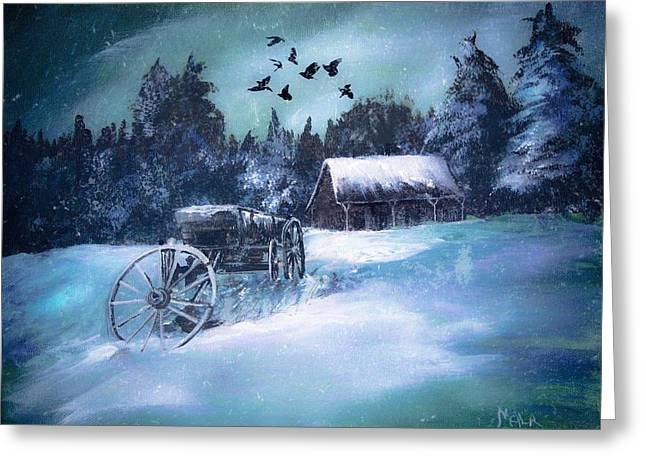 Rustic Winter Barn  Greeting Card