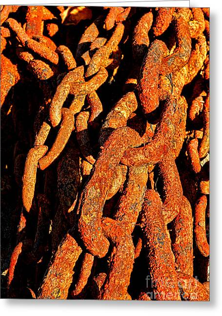 Rusting Chains In Warm Sunlight Greeting Card by Olivier Le Queinec