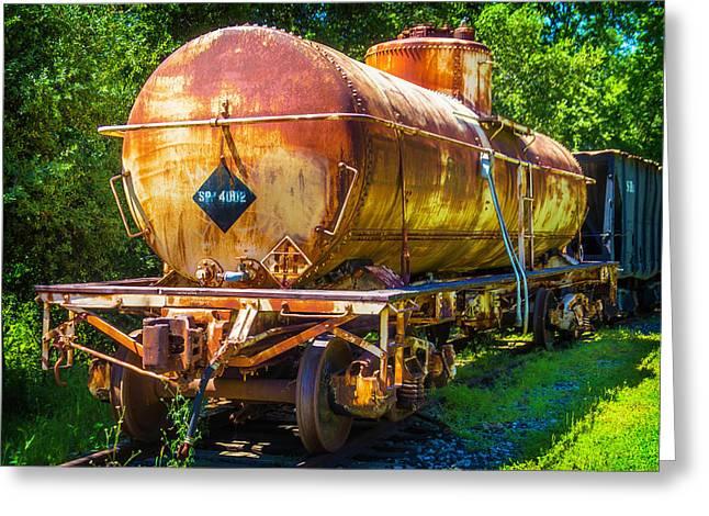 Rusting Oil Tanker Car Greeting Card by Garry Gay