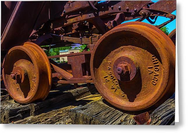Rusting Train Wheels Greeting Card by Garry Gay