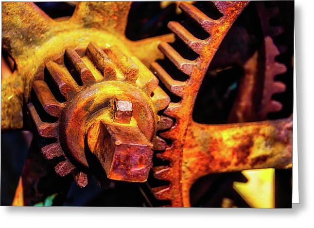 Rusting Train Yard Gear Greeting Card by Garry Gay