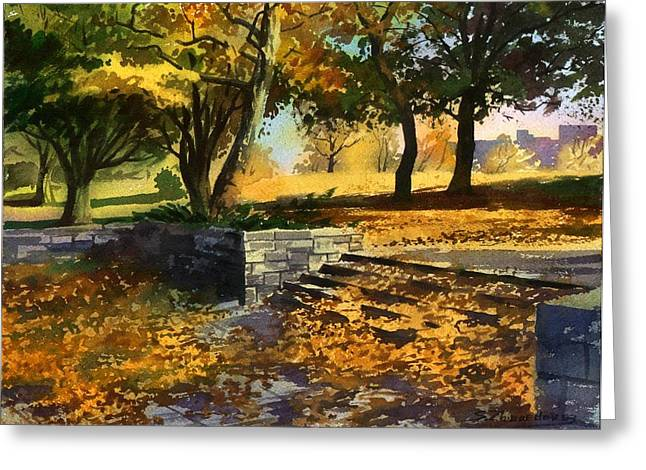 Greeting Card featuring the painting Rustling Of Autumn Leaves by Sergey Zhiboedov