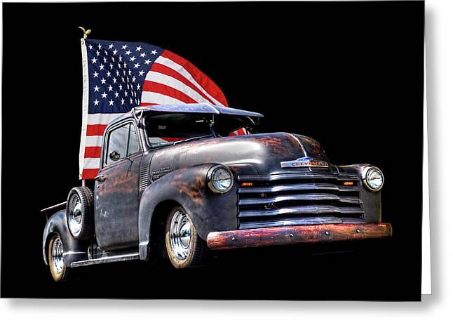 Rusty 1951 Chevy Truck With Us Flag Greeting Card by Gill Billington