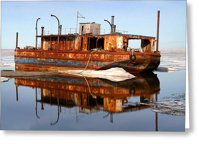 Rusty Barge Greeting Card by Anthony Jones