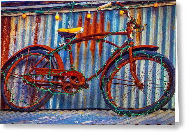 Rusty Bike With Lights Greeting Card