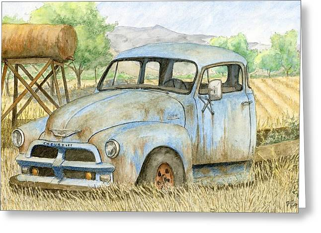 Rusty Blue Chevy Greeting Card