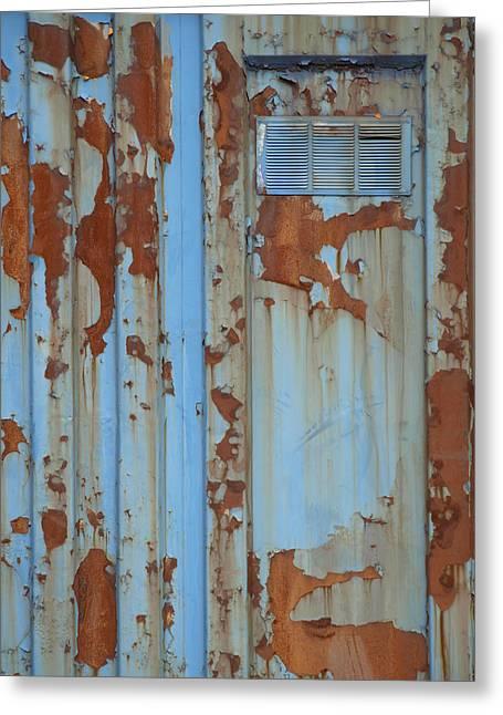 Rusty Blue Door Greeting Card by Robert Gebbie
