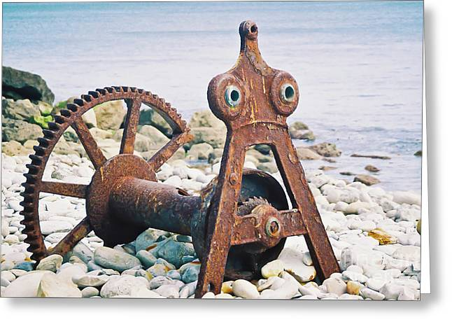 Rusty Boat Winch Greeting Card by Terri Waters