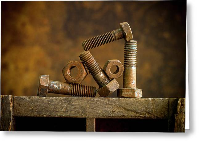 Rusty Bolt And Nuts Greeting Card by Bernard Jaubert