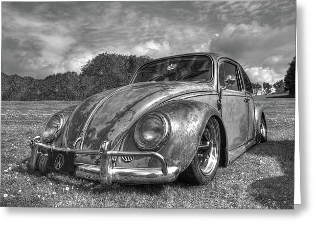 Rusty Bug - Vw Beetle In Black And White Greeting Card