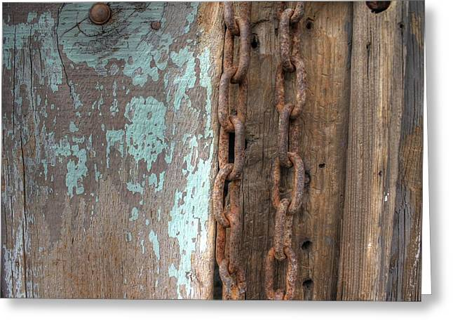 Rusty Chain Barn Wood Teal Turquoise Peeling Paint Greeting Card by Jane Linders