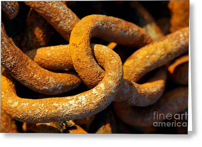 Rusty Chain Greeting Card by Carlos Caetano