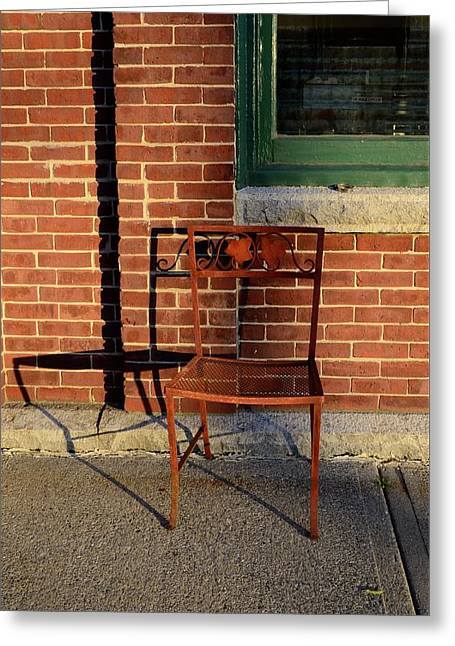 Greeting Card featuring the photograph Rusty Chair At Sunset by Corinne Rhode