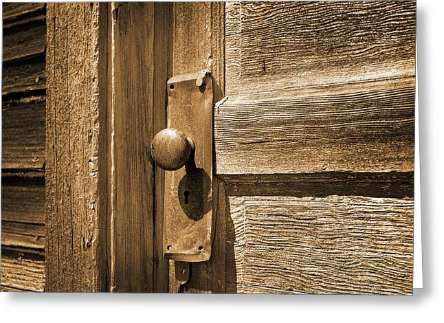 Rusty Door Knob Sepia Toned Greeting Card by Donald  Erickson