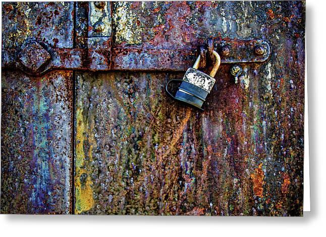 Rusty Door Of The Gun Battery 1.1 Greeting Card by Robert Anastasi