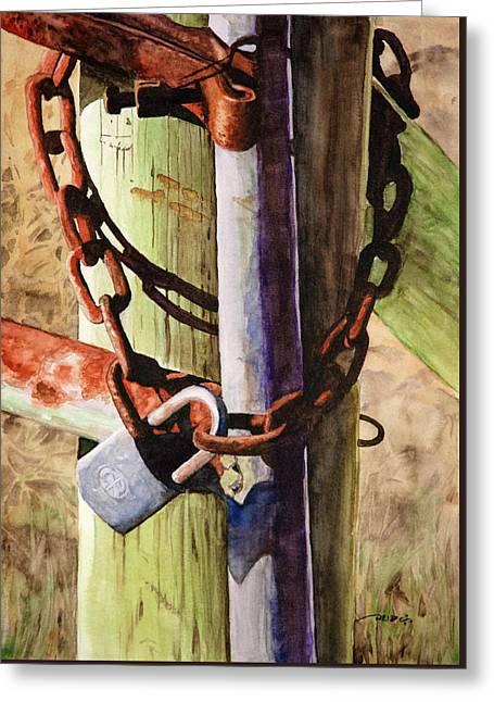 Rusty Fence Gate Greeting Card