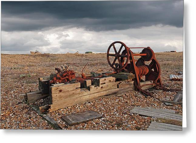 Rusty Gears Abandoned On The Beach Greeting Card by Gill Billington