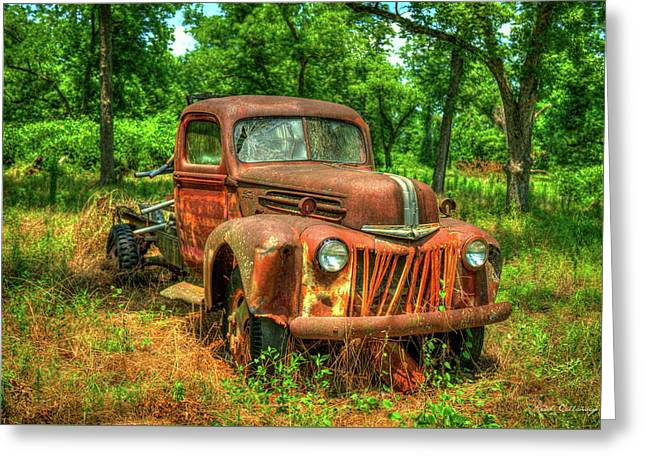 Rusty Gold 1947 Ford Stakebed Truck Art Greeting Card