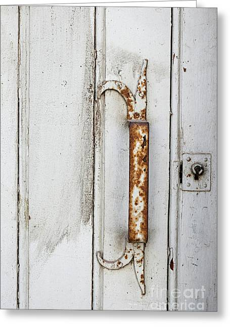 Rusty Handle On White Door Greeting Card by Elena Elisseeva