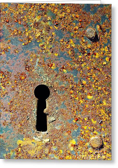 Metal Sheet Greeting Cards - Rusty key-hole Greeting Card by Carlos Caetano
