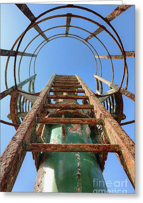 Collar Greeting Cards - Rusty Ladder Greeting Card by Noam Armonn