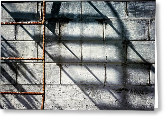 Rusty Ladder On Blue Industrial Art Greeting Card