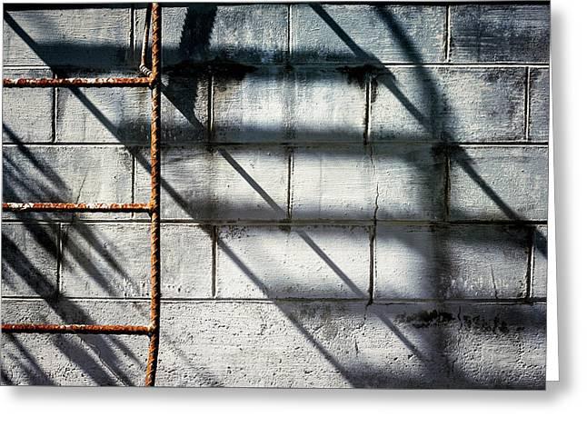 Rusty Ladder On Blue Industrial Art Greeting Card by Carol Leigh