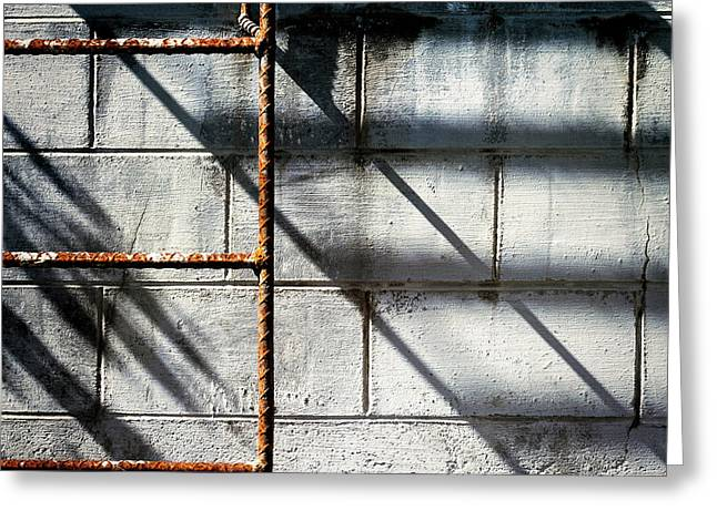 Rusty Ladder On Blue Industrial Art Square Greeting Card by Carol Leigh
