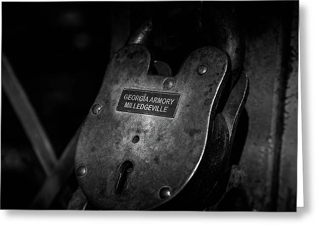 Rusty Lock In Bw Greeting Card