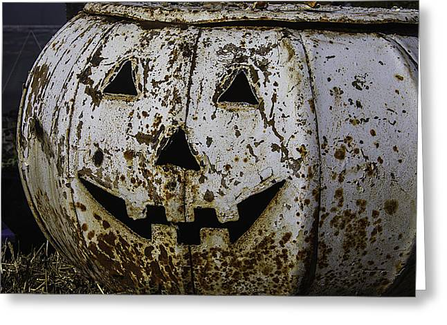 Rusty Metal Pumpkin Greeting Card by Garry Gay