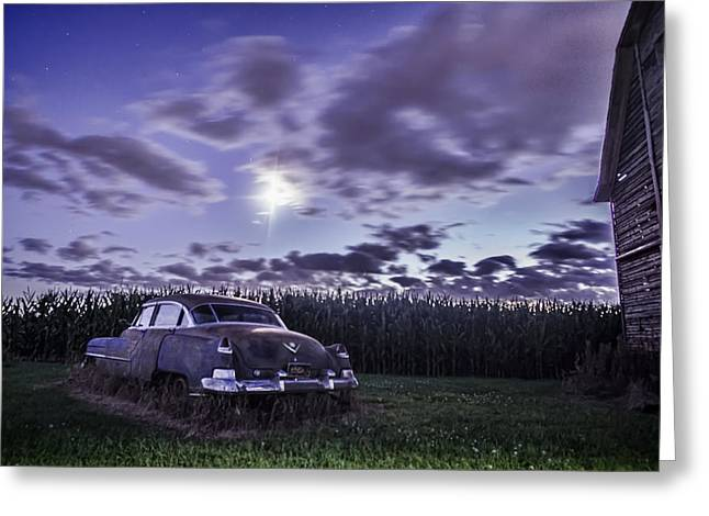 Rusty Old Cadillac In The Moonlight Greeting Card