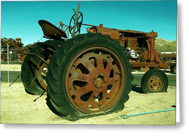 Rusty Old Tractor With A Flat Tire Greeting Card by Jeff Swan