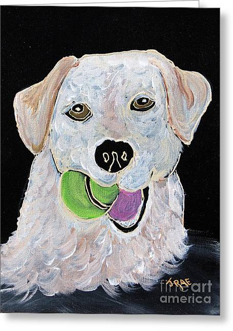 Greeting Card featuring the painting Rusty On Canvas by Janice Rae Pariza