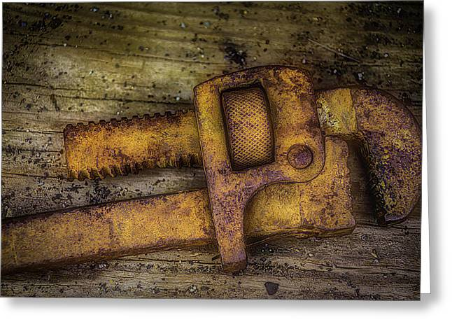 Rusty Pipe Wrench Greeting Card