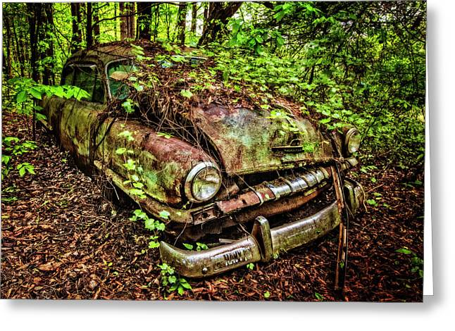 Rusty Plymouth Greeting Card by Debra and Dave Vanderlaan