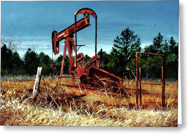 Rusty Pump Jack Greeting Card