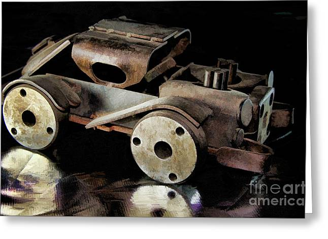 Greeting Card featuring the photograph Rusty Rat Rod Toy by Wilma Birdwell