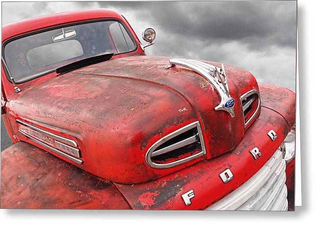 Rusty Red 48 Ford V8 Greeting Card by Gill Billington