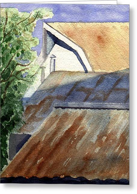 Rusty Roofs Greeting Card by Jane Croteau