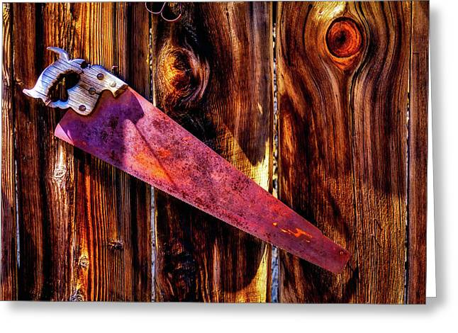 Rusty Saw On Fence Greeting Card
