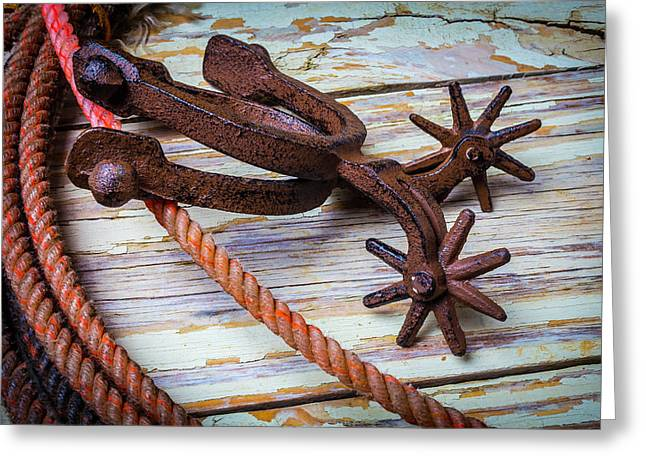 Rusty Spurs And Rope Greeting Card by Garry Gay