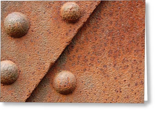 Rusty Steel Rivets Greeting Card by Lloyd Wilbur