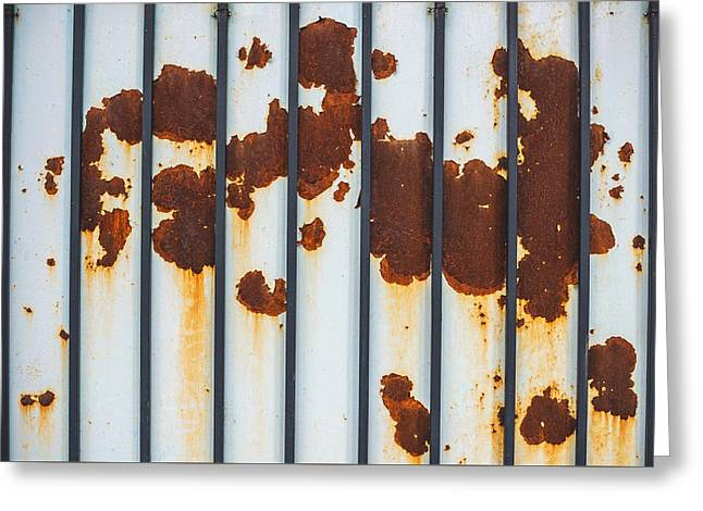 Aperture Greeting Cards - Rusty textured metal texture background Greeting Card by Eduardo Huelin
